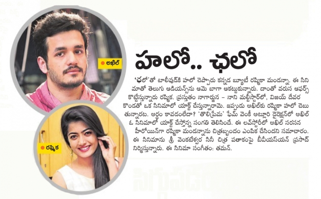 Rashmika Mandanna To Play Heroine In Akhil Upcoming Movie