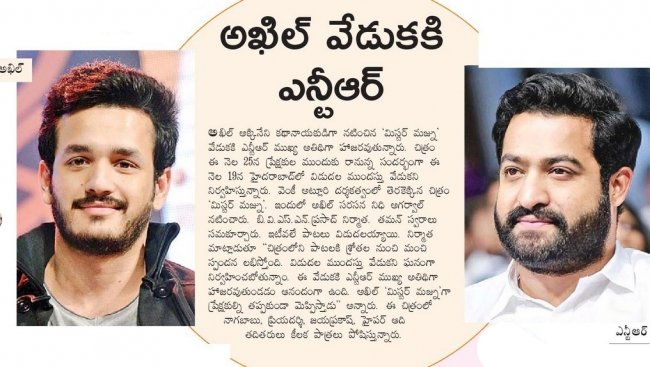 Nandamuri Superstar Is The Chief Guest For Akhils Mr Majnu